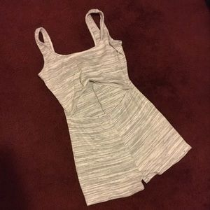 Gray Booty Short Stomach Cutout Romper